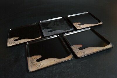 T607: Japanese WOODEN TRAY/plate Lacquer ware Grass pattern 5pcs, Tea Ceremony