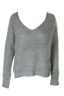 American Rag Juniors Grey Lace-Up-Back V-Neck Sweater Grey Xl XL MSRP $49.5