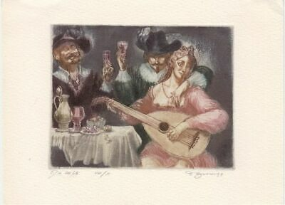 Exlibris Colored Etching by David Bekker (*1940) - Drinking Party