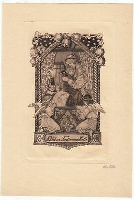 Exlibris by Mathilde Ade (1877-1953) - Praying with Child. and Angel