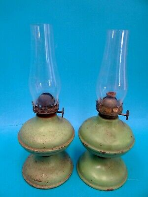 Two Antique Old Chinese China Green Metal Small Adjustable Wick Lanterns Lamps