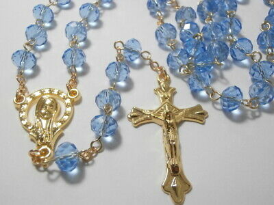 Blue Crystal & Gold Rosary Beads FREE Rosary Booklet Catholic Gift Communion