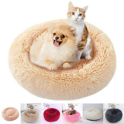 Pet Calming Bed Round Nest Warm Soft Plush Comfortable Winter Sleeping Bed