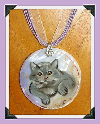 Shell pendant hand painted British Shorthair CAT Kitten by the Artist Gorbachova