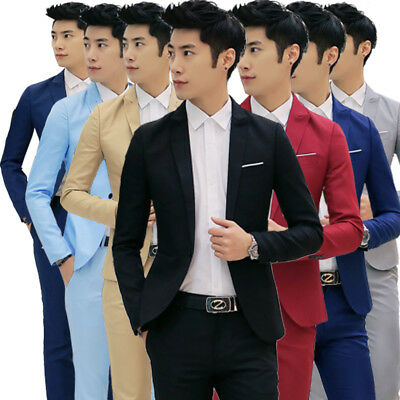 Tuxedos One Button Jacket Slim Fit Mens Business Formal Groom Wedding Suit