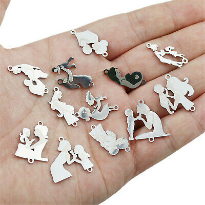 5pcs Stainless Steel Mixed Mom Baby Mother's Day Pendant Charms DIY Accessories