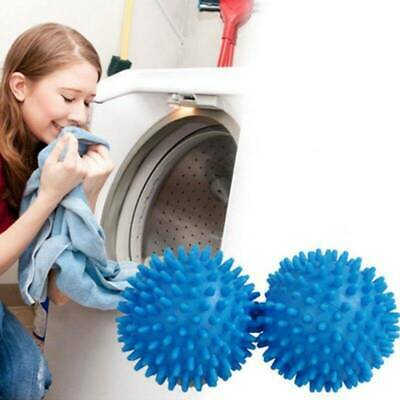 2pc Blue PVC Reusable Dryer Balls Laundry Washing Drying Fabric Softener Balls