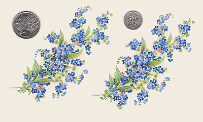 "2 x Ceramic decals. Decoupage. Forget-me-nots. Approx 5 "" x 2 1/2"". PD80"