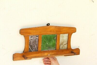 Antique Wall Mounted Towel Wooden Rack with Mirror Rare Retro Kitchen Wall Decor