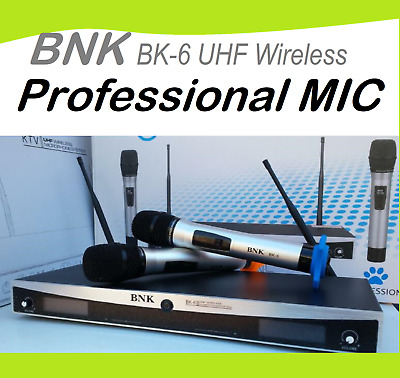 BNK BK-6 Professional UHF Microphone LCD Frequency Display with 2 handheld Mic