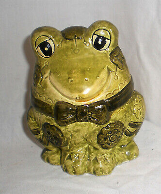 """Vintage late 1970's Green Ceramic 5"""" Tall FROG in Bow Tie Figurine BANK"""
