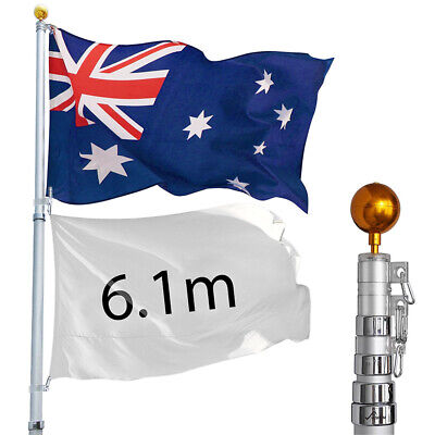 6.1m Telescoping Flag Pole Aluminum Flagpole w/ Australia Aussie Flag Gold Ball