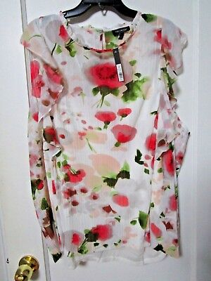 NWT Women's THE LIMITED White Red Floral Sleeveless Blouse Size 3X - MSRP $79