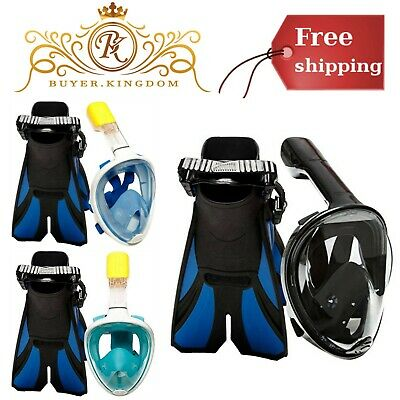 Snorkel Set With Adjustable Flippers 180° Panoramic View Full Face Snorkel Mask