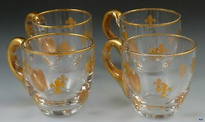 4 Antique c1900 French Gilt Glass Fleur de Lis Cordials or Liquor Shot Glasses