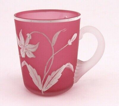 Antique Victorian c1870 Pink Painted Flower Frosted Art Glass Cup or Mug