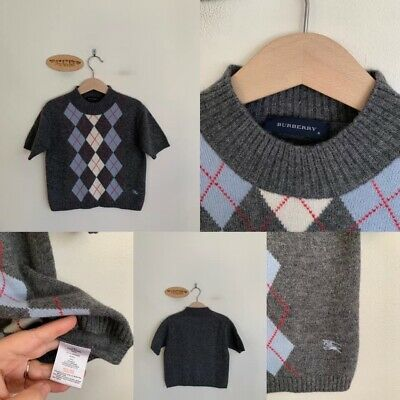 Sz 6 (Best Fit 4-5) Burberry Grey Diamond Wool Sweater