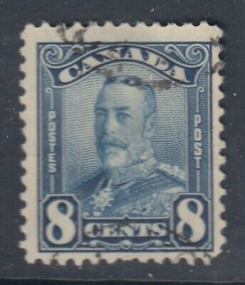 "# Canada Scott #154  8 cent blue ""KGV Scroll""  F *"