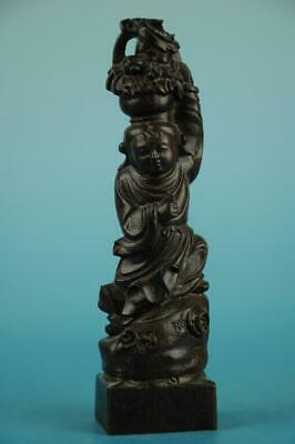Chinese eaglewood hand-carved One of the eight immortals immortal Statue/r