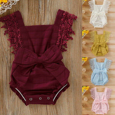 Newborn Infant Baby Girls Boys Solid Lace Bow Romper Bodysuit Clothes Outfits
