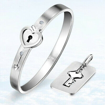 Stainless Steel Love Heart Lock Bracelet Bangle Key Pendant Necklace Couple Set
