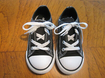 Converse All Star Toddler Girl's size 10 double tongue black/white sneakers EUC