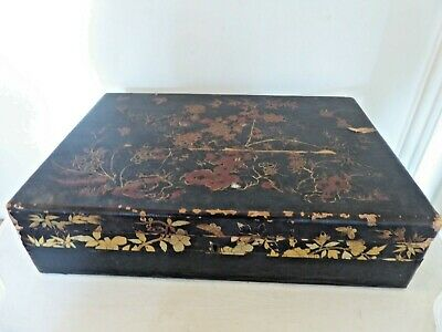 Antique Victorian Large Laquered Japanned Box with Handles Shabby Chic