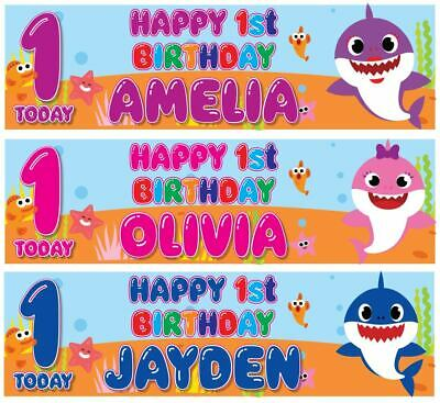 "2 BABY SHARK PERSONALISED BIRTHDAY BANNER DOO DOO - FIRST 1st ONLY 36"" x 11"""