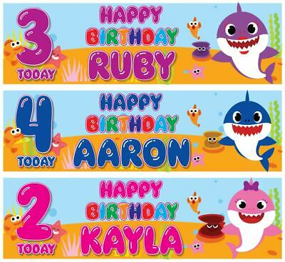 "2 BABY SHARK PERSONALISED BIRTHDAY BANNER DOO DOO - ANY NAME ANY AGE 36"" x 11"""