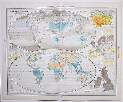1899 Large Weather Meteorology Map Isonephs Isohyets Isohels Cloudiness Sunshine