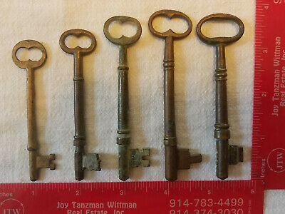 "Lot of 5 Antique Solid Brass Numbered 3-4"" Skeleton Keys Doors Rooms Locks (B2)"