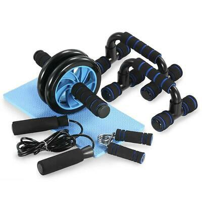 5 Pieces Fitness Exercise Set Hand Gripper Jump Rope AB Roller Push-Up Bar Pad