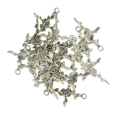20x Rose Flower Branch Design Cross Charms Pendant for DIY Jewelry Findings