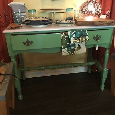 Antique Farmhouse Buffet Table Vintage Wood Drawer Green White Rustic