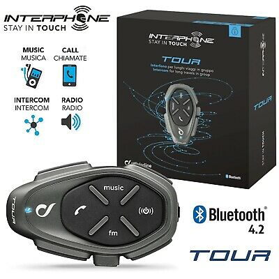 Cellularline Interfono Moto Casco Bluetooth Interphone Tour Radio Kit Singolo