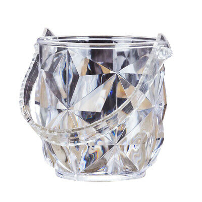 1 pc Ice Bucket Transparent Round Wine Set with Ice Tong for Restaurant KTV Bar