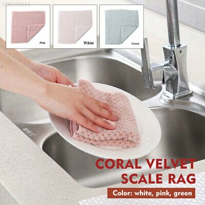 07B6 2pcs Kitchen Cleaning Cloth Wiping Cloth Coral Fleece Kitchen Tools
