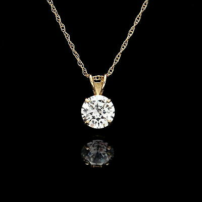 1CT Round Cut Diamond Solitaire Pendant 14K Yellow Gold Over Without Chain