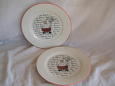 2 Emerald Italian French Chef Cook Waiter Pasta Bowl Salad Plate Dish CUTE!