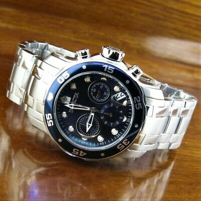 New Mens Invicta Pro Diver Scuba Chronograph Stainless Steel Watch  0070