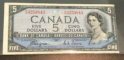 1954 $5 Dollar Devils Face Bank Note, Bank of Canada, VG C/C Coyne and Towers