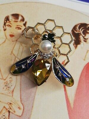 133 Art Deco Vintage Gold Plated Amber Glass pearl crystal Honey Comb Bee Brooch