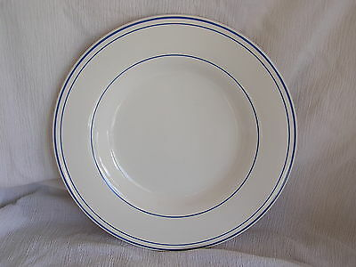 """Pottery Barn Bistro Blue & White Ring Large Pasta Soup Cereal Bowl 10""""  RARE!"""
