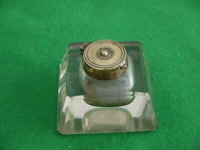 Nice Old Antique Cut Glass & Brass Desk Inkwell