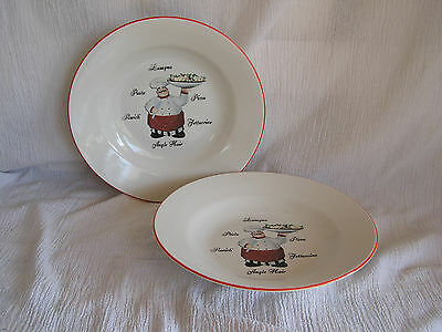 2 Emerald Italian French Chef Cook Waiter Pasta Bowl Soup Cereal Bowl CUTE!