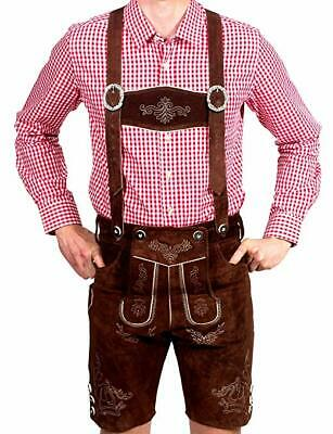 Bavarian Men's Traditional Garb Leather Shorts, Trousers with Straps, Origin