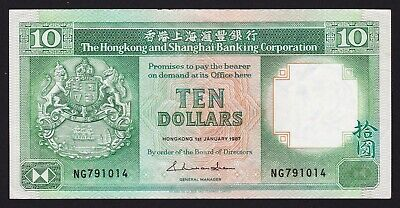 Hong Kong and Shanghai Banking Corporation $10 Dollar 1/1/1987 Banknote P-191a.3