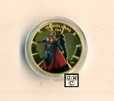 2016 Gold 'Batman v Superman; Dawn of Justice(TM)' Color Prf $100Coin(17615)OOAK