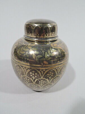 Tiffany Tea Caddy - 17060 - Antique Exotic - American Sterling Silver Gold Inlay