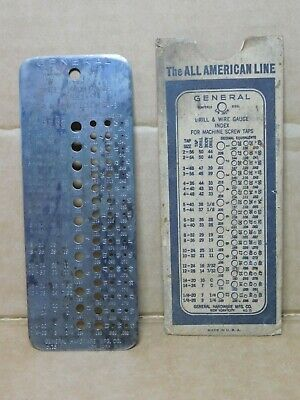 Vintage General Hardware Mfg. Co. No. 15 Drill and Wire Gauge Index